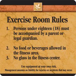 Interior Sign - Exercise Room Rules - Sedona Design