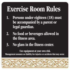 Interior Sign-Exercise Room Rules Plastic Sign-Scroll