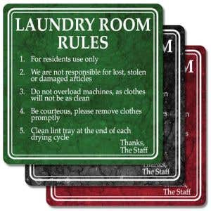 """Laundry Room Signs - """"Laundry Room Rules"""" Marble"""