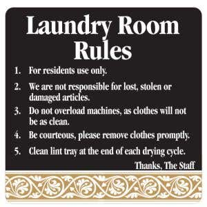 Laundry Room Rules Interior Sign Black and Tan Scroll Design