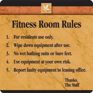 "Interior Sign - ""Fitness Room Rules"" Sedona"