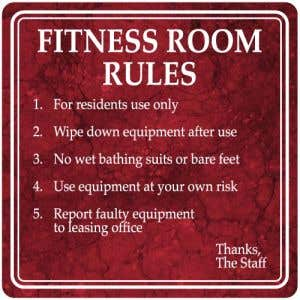 Fitness Room Rules Interior Sign Marble Design