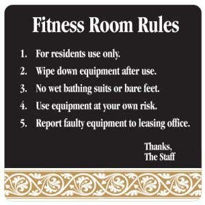 Fitness Room Rules Interior Sign Black and Tan Scroll Design