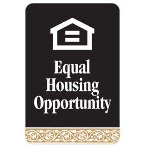 Equal Housing Opportunity Interior Sign Black and Tan Scroll Design