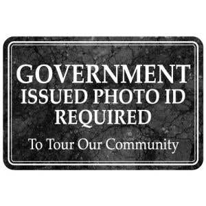 Interior Sign-Government Issued Photo ID Required Plastic Sign-Marble