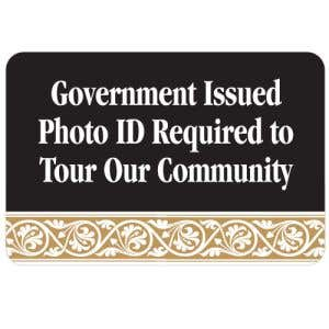 Government Issued ID Required Interior Sign Black and Tan Scroll Design