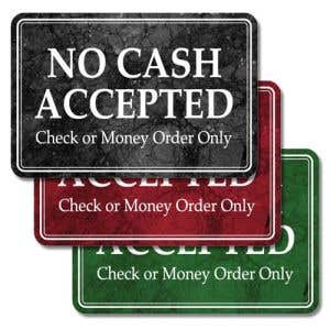 Interior Signs-No Cash Accepted Check or Money Order Only Plastic Sign-Marble