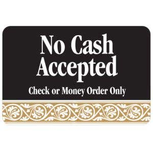 No Cash Accepted Interior Sign Black and Tan Scroll Design