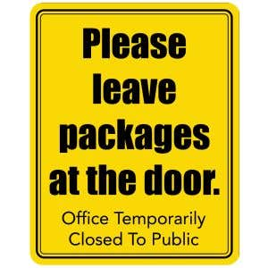 Please Leave Packages Office Closed Sign - Yellow