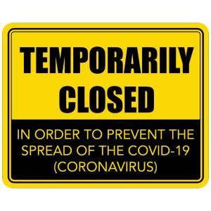 Temporarily Closed COVID-19 Office Sign - Yellow