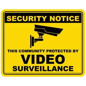 Security Notice Video Surveillance Office Sign - Yellow