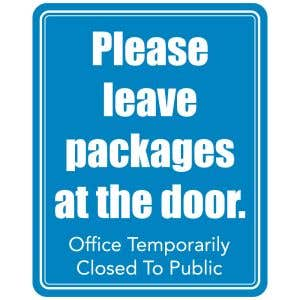 Please Leave Packages Office Closed Sign - Blue