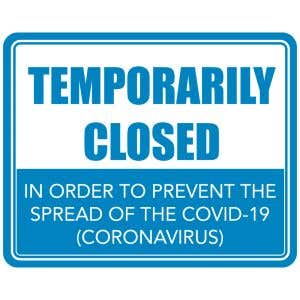 Temporarily Closed COVID-19 Office Sign - Blue