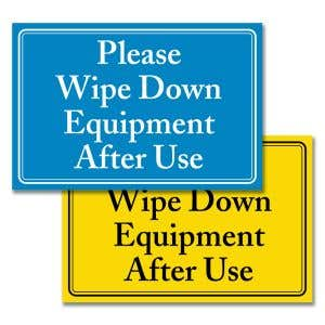 Interior Signs - Wipe Down Equipment
