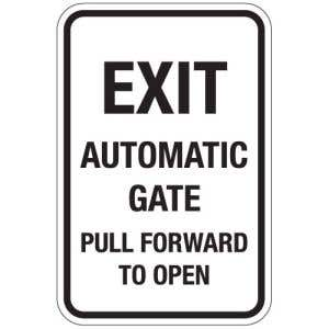 """Automatic Gate Signs - """"Exit Automatic Gate"""""""
