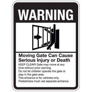 """Automatic Gate Signs - """"Can Cause Serious Injury"""""""