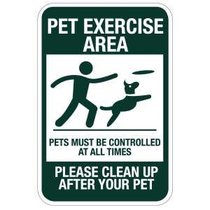 """Pet Waste Signs - """"Pet Exercise Area"""""""