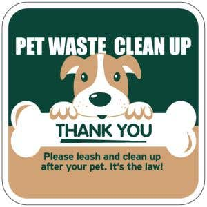 Pet Waste Signs - Dog with Bone - Square