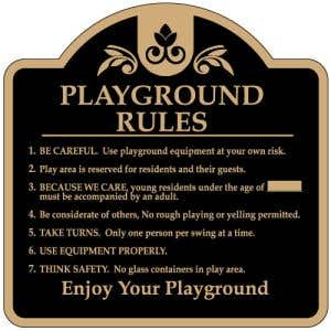 """Playground Rules Sign - """"Age Requirement"""" Dome"""