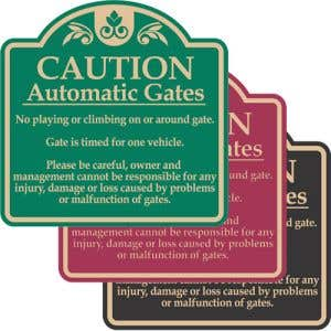"""Automatic Gate Signs - """"Caution"""" Dome"""