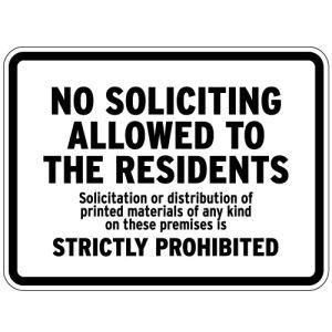 "No Soliciting Signs - ""No Soliciting Allowed"""