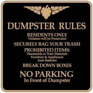 """Dumpster Rules Signs - """"No Parking"""" Square"""
