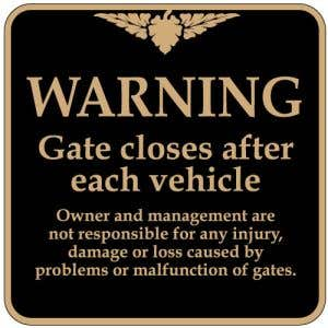 """Automatic Gate Signs - """"Warning"""" Square"""