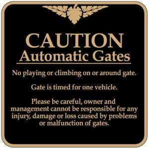 """Automatic Gate Signs - """"Caution"""" Square"""