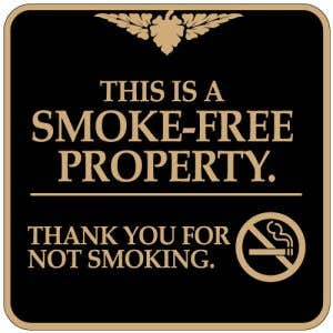 "No Smoking Signs - ""Smoke Free Property"" Square"