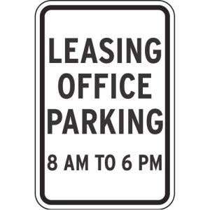 """Parking Signs - """"Leasing Office Parking"""""""