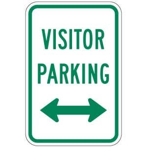 Visitor Parking Signs - Left Right Arrows - Green
