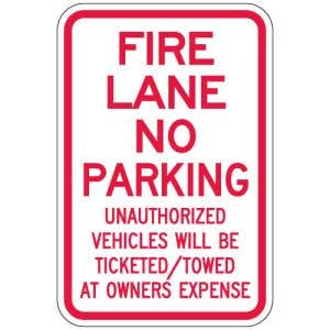 """Fire Lane Signs - """"Unauthorized Vehicles"""""""