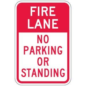 """Fire Lane Signs - """"No Parking or Standing"""""""