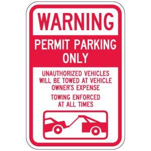 """Parking Signs - """"Warning Permit Parking Only"""""""