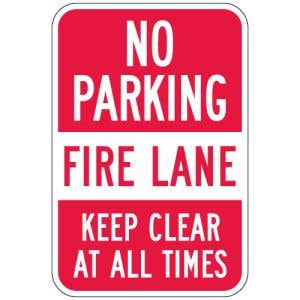 """Fire Lane Signs - """"No Parking Keep Clear at All Times"""""""