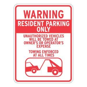 """Resident Parking Signs - """"Warning"""" Tow Symbol"""