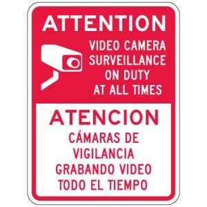 "Surveillance Camera Signs - ""Attention"" Bilingual"