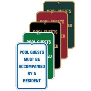 """Pool Signs - """"Pool Guests Must Be Accompanied"""""""