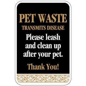 "Pet Waste Sign - ""Transmits Disease"" Scroll"