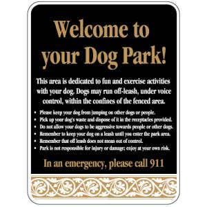 """Dog Park Sign - """"Welcome"""" Rules - Scroll"""
