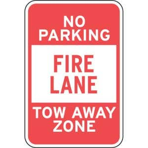 """Fire Lane Signs - """"Tow Away Zone No Parking"""""""