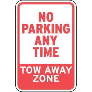 """No Parking Signs - """"Tow Away Zone"""""""