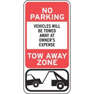 """No Parking Signs - """"Vehicles Towed"""" Tow Symbol"""