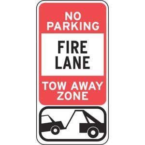 """Fire Lane Signs - """"Tow Away Zone"""" Large"""