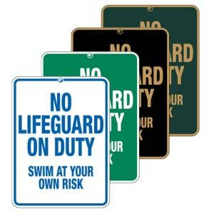 """Pool Signs - """"No Lifeguard on Duty"""""""