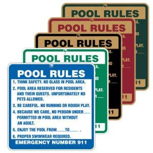 """Pool Signs - """"Pool Rules"""" Large Size"""