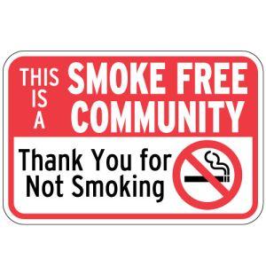 "No Smoking Signs - ""Smoke Free Community"""