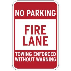 """Fire Lane Signs - """"No Parking Towing Enforced"""""""