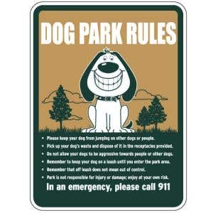 """Dog Park Sign - """"Dog Park Rules"""" Smiling Dog"""