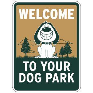 """Dog Park Sign - """"Welcome"""" Smiling Dog"""
